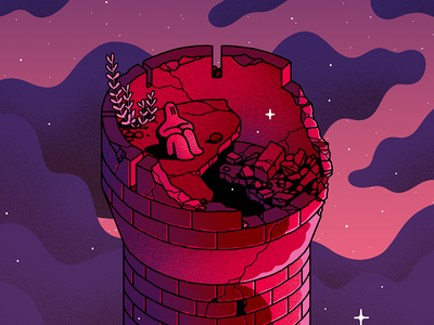 Tower Ruins dissolve ruins tower clouds sky purple pink red castle photoshop drawing illustration