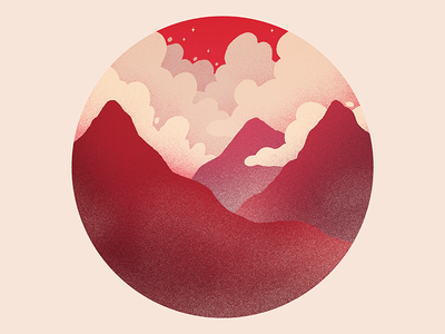 Pointy Features design warm mountains clouds art album album cover album art circle red drawing photoshop