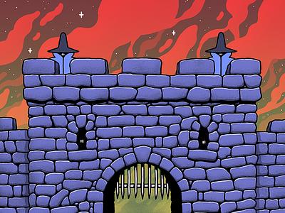 Gatehouse purple art fantasy psychadelic clouds ruins castle design red illustration drawing photoshop