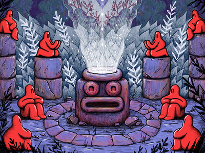 Face Of The Forest symmetry art pencil rocks ruins plants character design design red illustration drawing photoshop