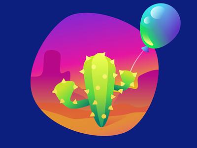 Cactus & Balloon cactus powerpoint illustration 2d