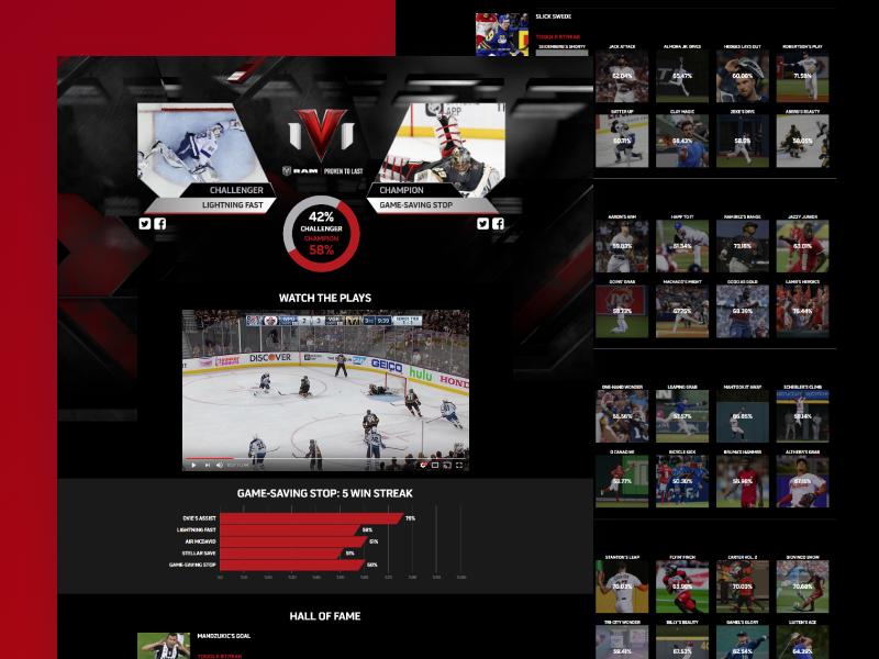 TSN 1V1 voting ux design mobile 1v1 sports web