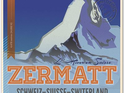L' Hiver En Suisse (Winter in Switzerland) Poster illustration