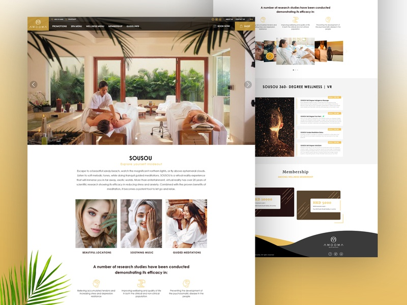 AMOOMA SPA - Landing Page massage spa clean creative interface landing page landing typography ui design ux ui website design webdesign web design yellow illustration flat design website web