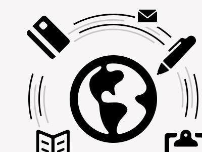 A busy world. icons rotation globe