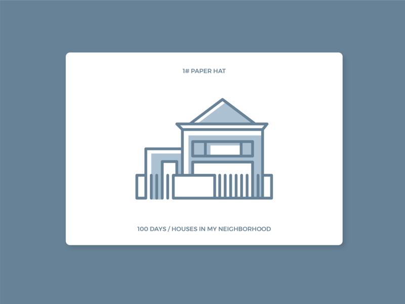 100 days houses in my neighborhood - #1  Paper Hat houses 100 days icon illustration
