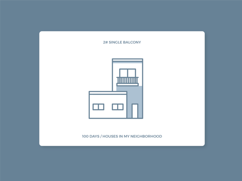 100 days of houses in my neighborhood - #2 Single Balcony house icon houses icon illustration daily 100