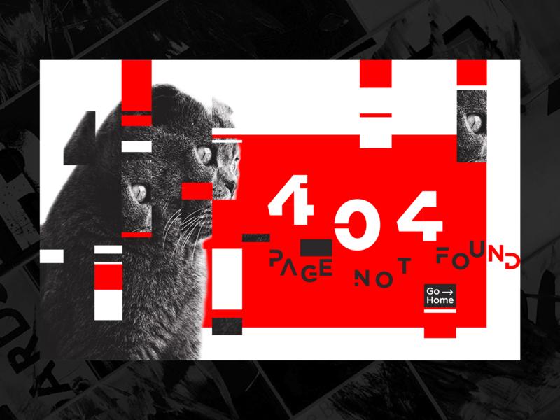 Daily UI #008 - 404 page glitch page 404 error 404 cat graphic  design dailyui adobe photoshop cc