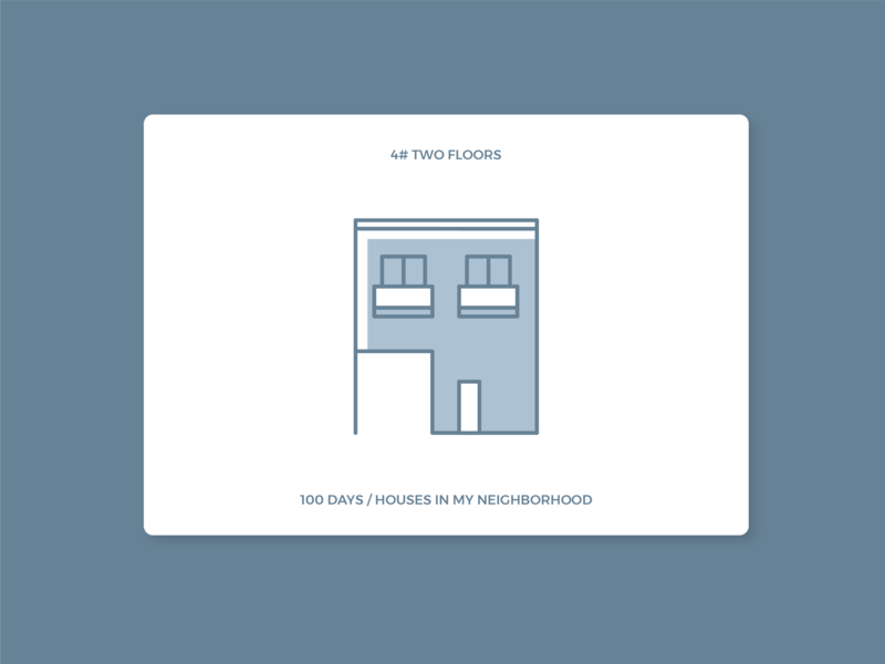 100 days of houses in my neighborhood - #4 Two Floors icon illustration houses daily 100