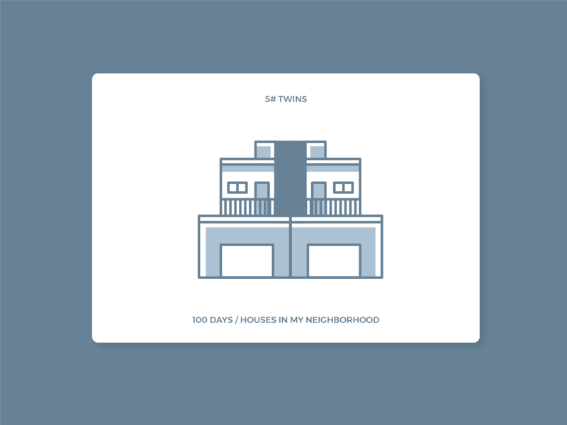 100 days of houses in my neighborhood -  #5 Twins icon house illustration daily 100