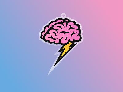 Brain Power brains thinking brainstorm charm sticker power charge lightning brain
