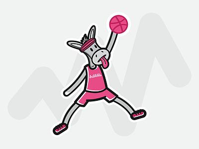 Air Mule notification ball jump mj pink basketball jordan sticker mule dribbble