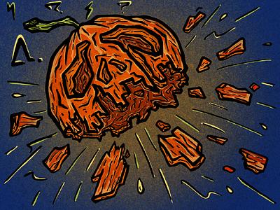 Pumpkin Bomb illustration dynamic explosion halloween bomb smash pumpkin stickermule