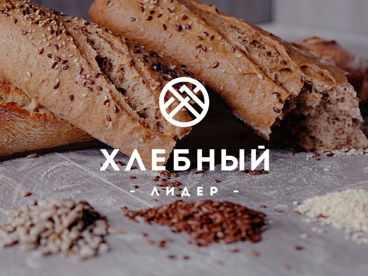 Hlebnii Lider Bakery monochrome simple minimalistic cyrillic baking bread shop mark letterform logo bakery branding