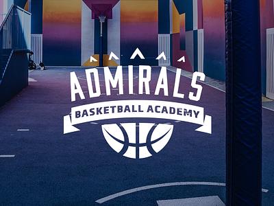Admirals Basketball Academy monochrome minimalistic court blue admiral nba crown school academy branding logo sport streetball basketball