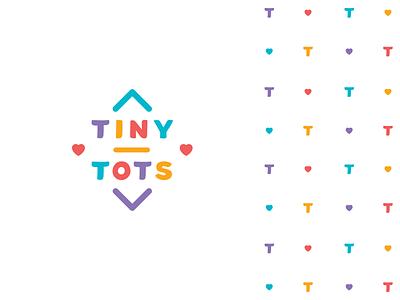 Tiny Tots Logo logotype brand kindergarten childcare store cute funny joy playful heart children bright colorful logo toys kids