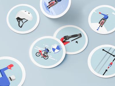 Uber Bike Stickers transportation electric ebike rider illustration uber bike bike uber design uber