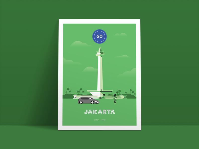 Jakarta poster illustration jakarta redesign app driver uber design uber