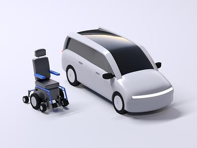 Uber WAV - 3D Vehicle Redesign vehicle accessible wav product design rideshare upgrade animation 3d animation 3d fleet uber design uber