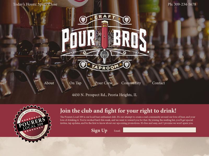 Pour Brothers responsive home page uiux ux ui pub website landing page web design