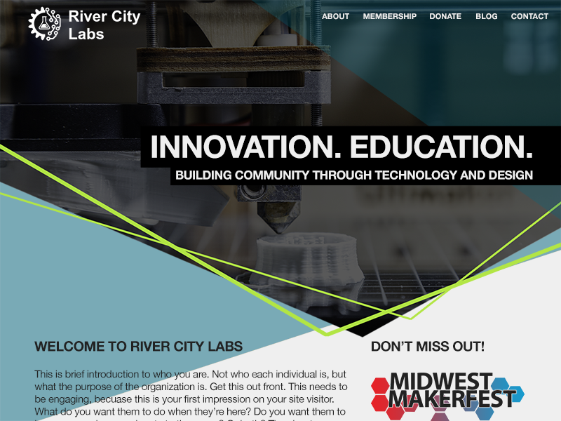 River City Labs layout geometric uiux ux ui landing page home page web design webdesign