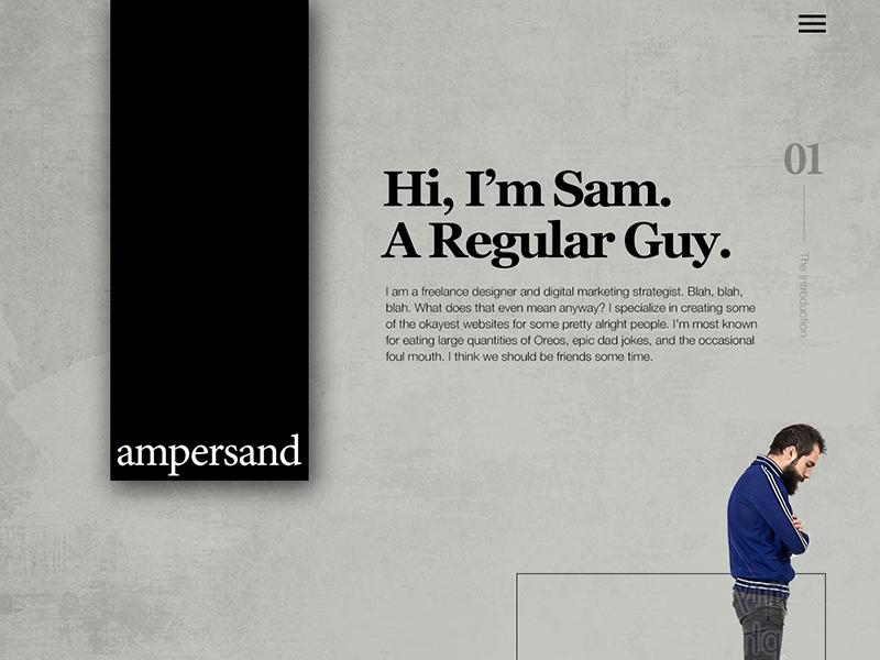 Ampersand 2017 wip personal website portfolio website web ux uiux ui mockup landing page home page design
