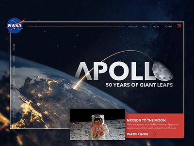 50 Years of Apollo web design portfolio ux ui mockup home page website design uiux landing page