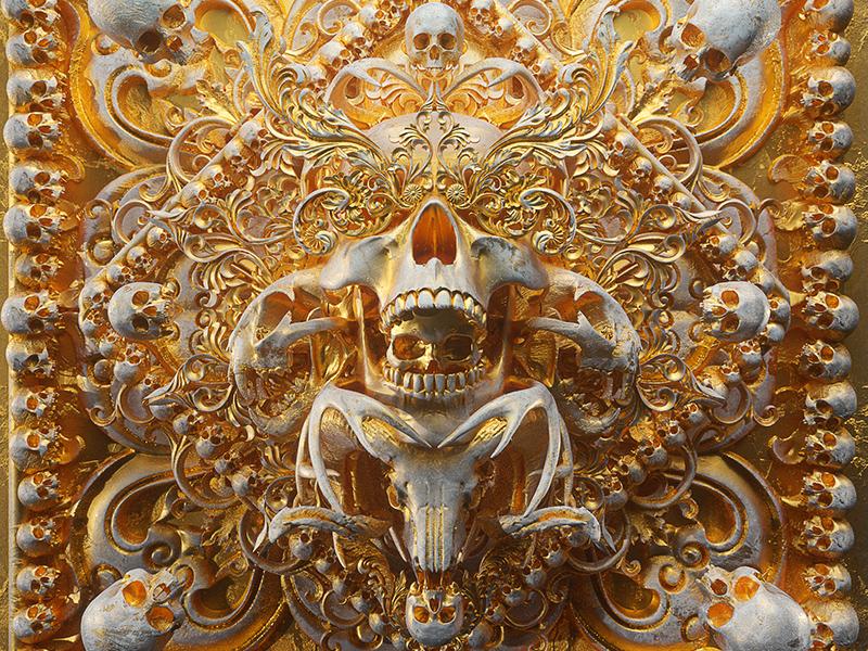 Memento Mori VI billelis illuminati 3d illustration symbolism symbol mandala tattoo geometric symmetry ornate decorative