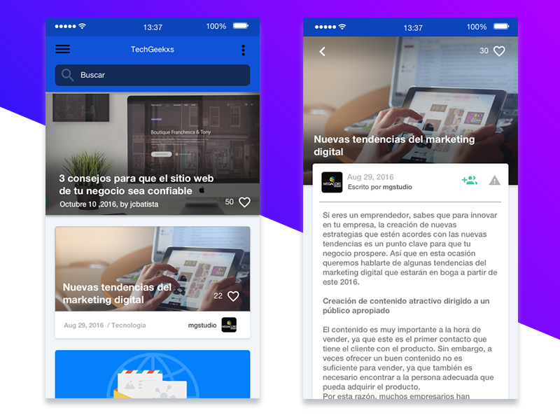 News apps by Jean Carlos for Megacore Studio on Dribbble