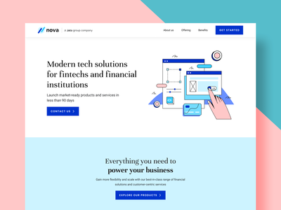 Website Concept - Nova button design fintech websites branding design landing page website concept website design webdesign website ux ui concept illustration