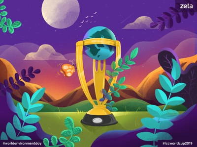 Environment day and ICC Worldcup - 2019 fauna floral earth globe nature sports cricket worldcup icc design procreate concept illustration