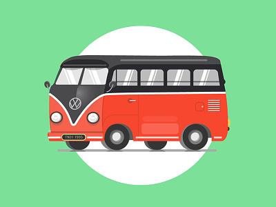 Hippie The Classic illustration shine volkswagon hippie green red vectordesign vintage old vintagecar classicmodel car