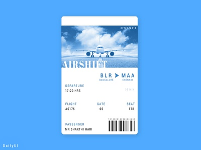 Boarding Pass - DailyUI 024 daily ui user experience boarding pass day024 concept ux ui challenge dailyui
