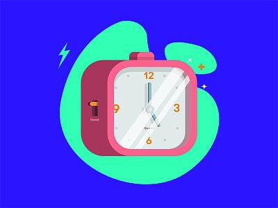 Alarm clock snooze blue glare shades flat vectordesign clock alarm