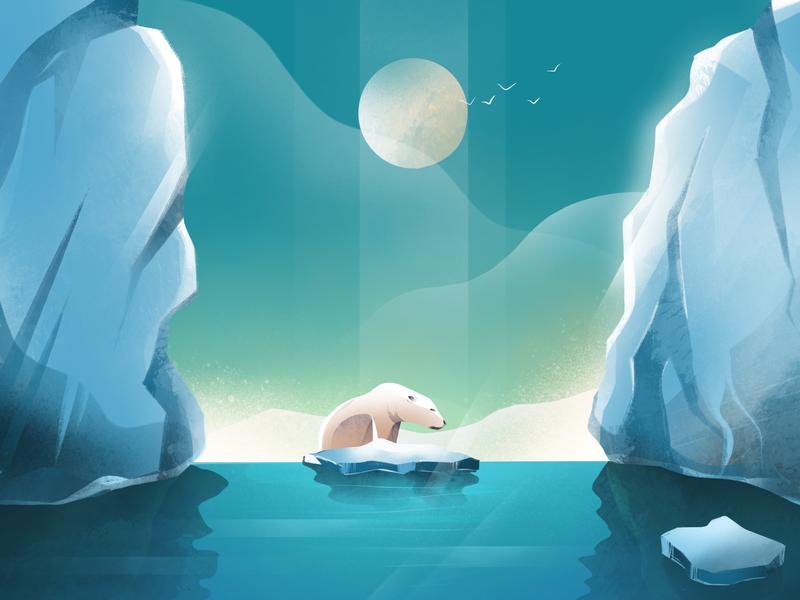 36 Days of type - U ipadpro moonlight sky antarctica iceberg polarbear gradients textures procreate art procreate illustration 36daysoftype
