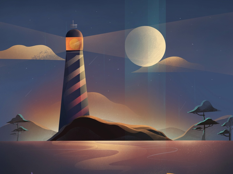 36 Days of type - L concept cloud sea moon gradient textures lighthouse procreate illustrator cc illustration 36 days of type 36daysoftype