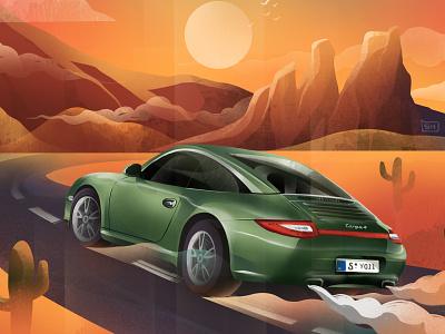 Shift Cruise procreate illustration luxurycar motorsport desert drive western hills shift cruise porsche porsche 911 car
