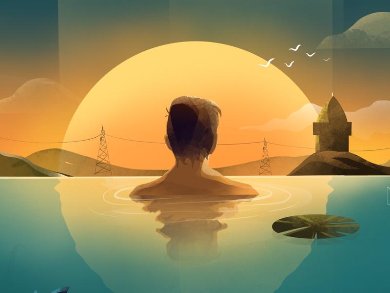 Pond design india temple characterdesign textures procreate procreate app photoshop procreate art illustration design illustration