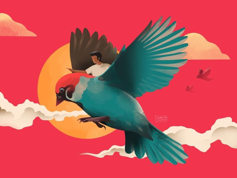 First Flight procreate procreate art human bird illustration characterdesign design vector concept graphicdesign webdesign illustration 2d art 2d