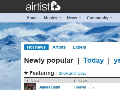 Another version in two lines of Airtist.com header homepage music logo airtist news icon blue artist label album