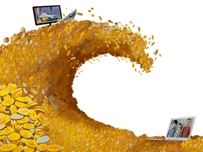 Wave Of Gold picsou wave gold wave of gold tv ad advertising tsunami market business surf flood