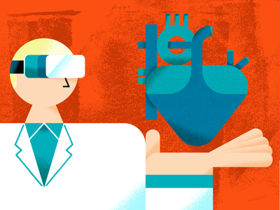 Tech advances in cardiology vr headset vr cardiologist heart doctor healthcare health technology tech editorial editorial illustration illustration
