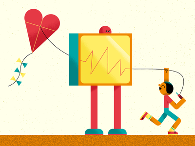 Cardiomatics junior heartrate ecg kite children kid robot algorithm ai technology tech healthcare health heart monitoring heart editorial illustration editorial illustration