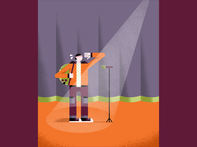 Teenage jitters performance problem microphone stage emotions stage fright jitters teenager psychology newsweek editorial illustration editorial illustration