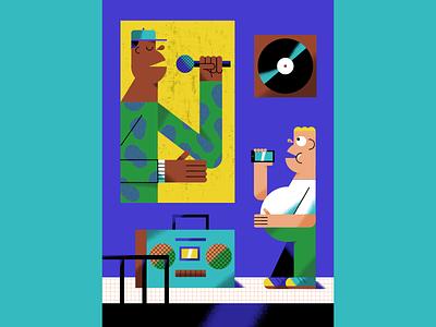 Hip Hop kid teenager bedroom microphone listener fan boombox mc rapper influence music culture rap hip hop poster illustraton