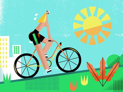 Bike biking city sport lady woman girl bike ride riding a bike ride bicycle bike illustration