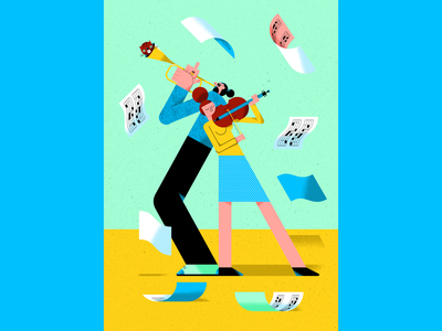 Musicians notes cat trumpet player trumpet violinist violin music couple musicians people couple music commission illustrated poster poster illustration