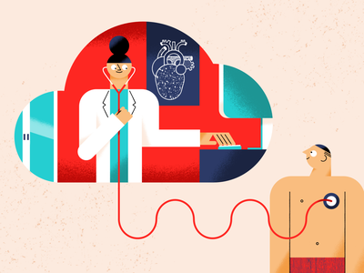 Cloud services health technology artificial intelligence ai patient doctor cloud editorial illustration healthcare tech illustration