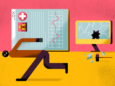 Cybersecurity in healthcare internet computer data leak hacker thief protection cybercrime cybersecurity online security data protection data editorial illustration illustration