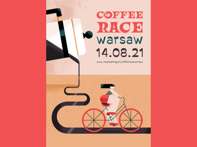 Coffee Race riding a bike woman bicycle energy event promotion girl road event coffee race race bike coffee illustrated poster poster illustration